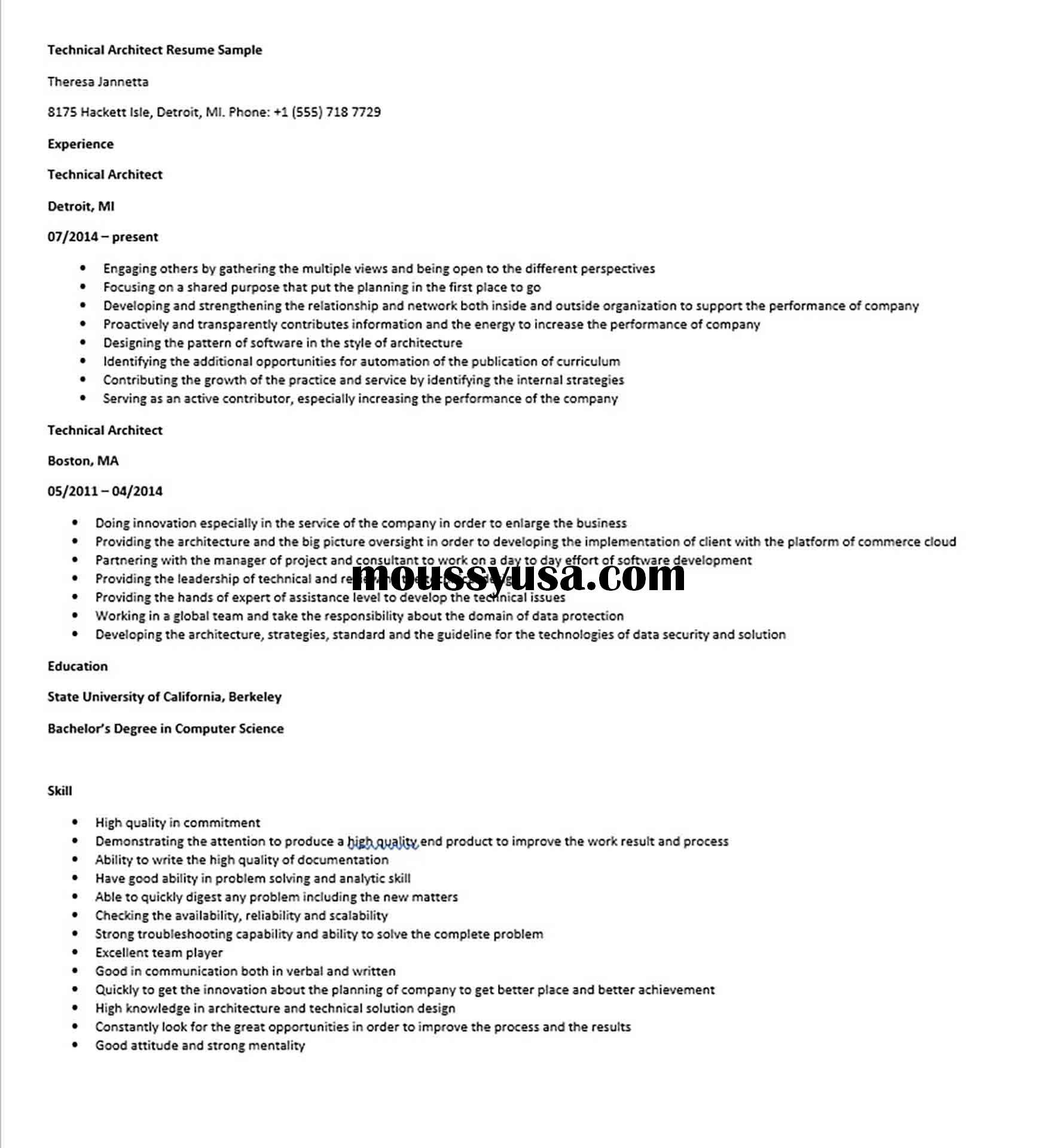 Technical Architect Resume Sample Architect Resume Sample Architect Resume Technical Architect