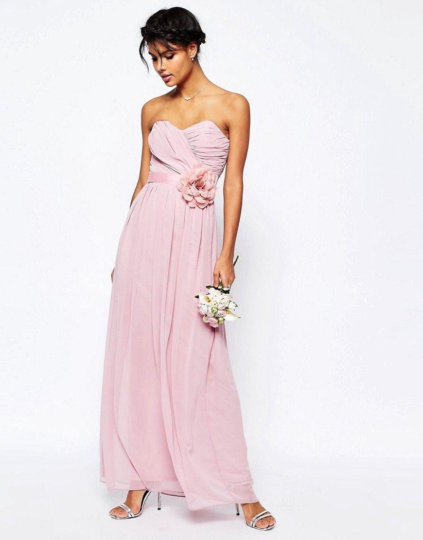 Image 1 of ASOS WEDDING Chiffon Maxi Bandeau Dress With Detachable ...