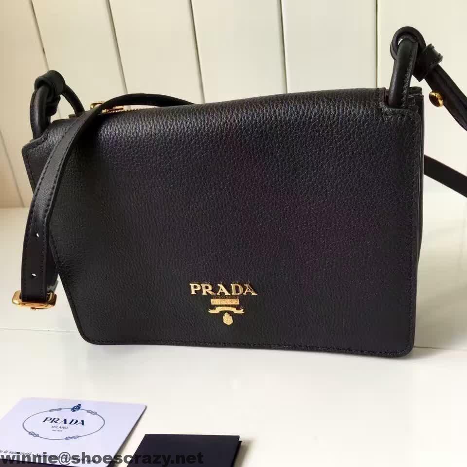 324531a9628e Prada 1BH031 Grained Calf Leather Shoulder Bag 2016
