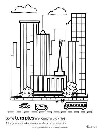 Un dibujo en blanco y negro de un templo rodeado de grandes ...