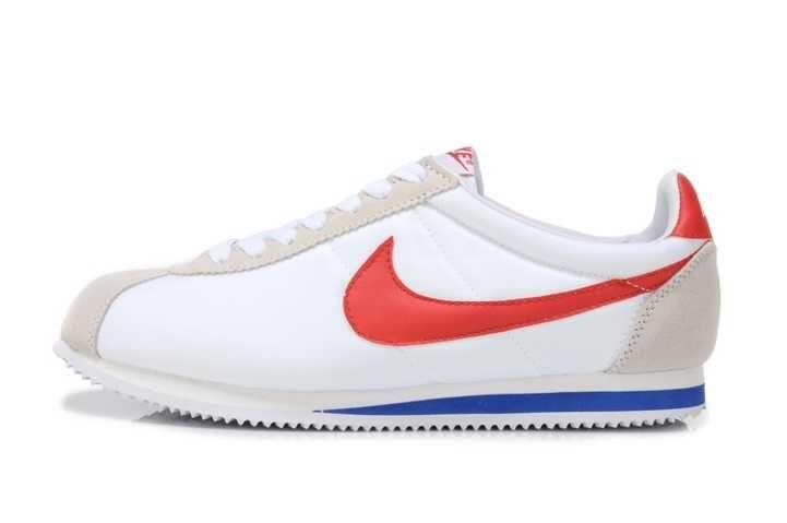 Discount Nike Classic Cortez Nylon Mens White Red Trainers UK