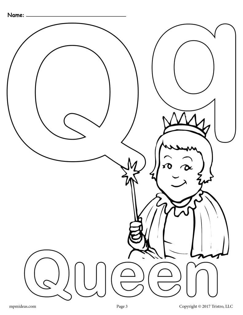 Letter Q Alphabet Coloring Pages 3 Printable Versions Alphabet