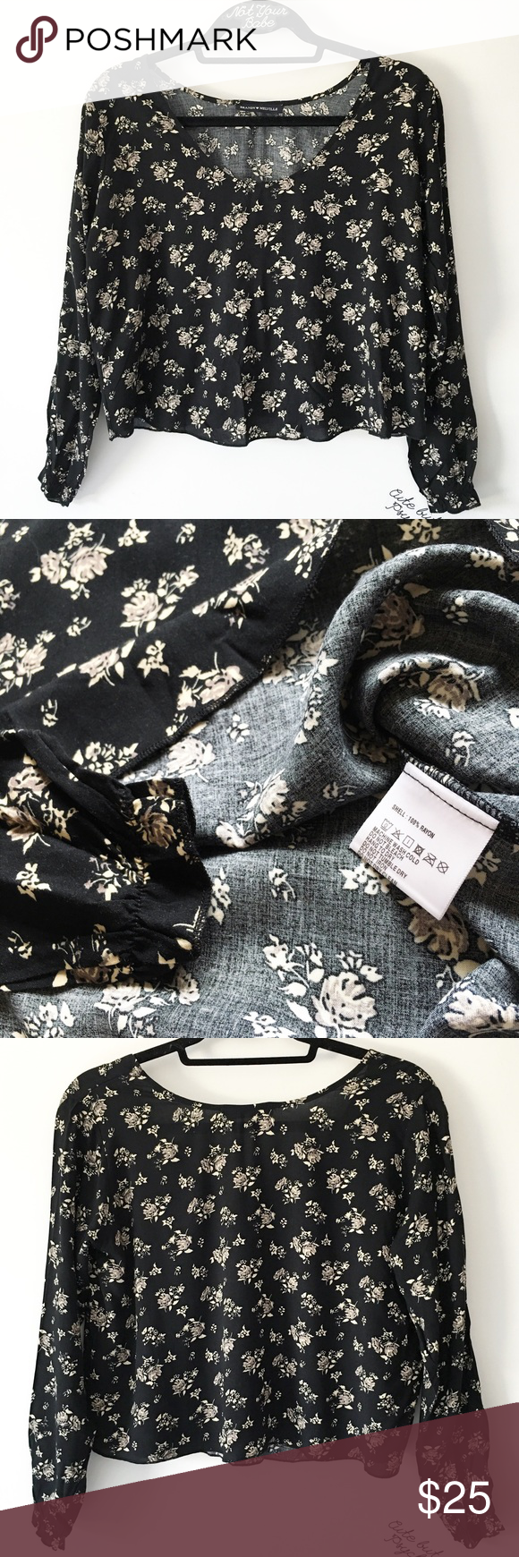 """NWOT black rose print blouse top 19"""" in length, 100% rayon  $20 + $3 shipping through 🅿️🅿️  ❌ lowballers will be blocked 👋🏻 Brandy Melville Tops Tees - Long Sleeve"""