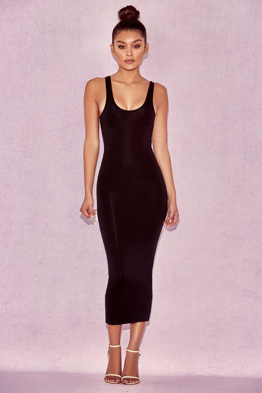 9f592acd674c Clothing : Bodycon Dresses : 'Tomlin' Black Midi Length Vest Dress ...