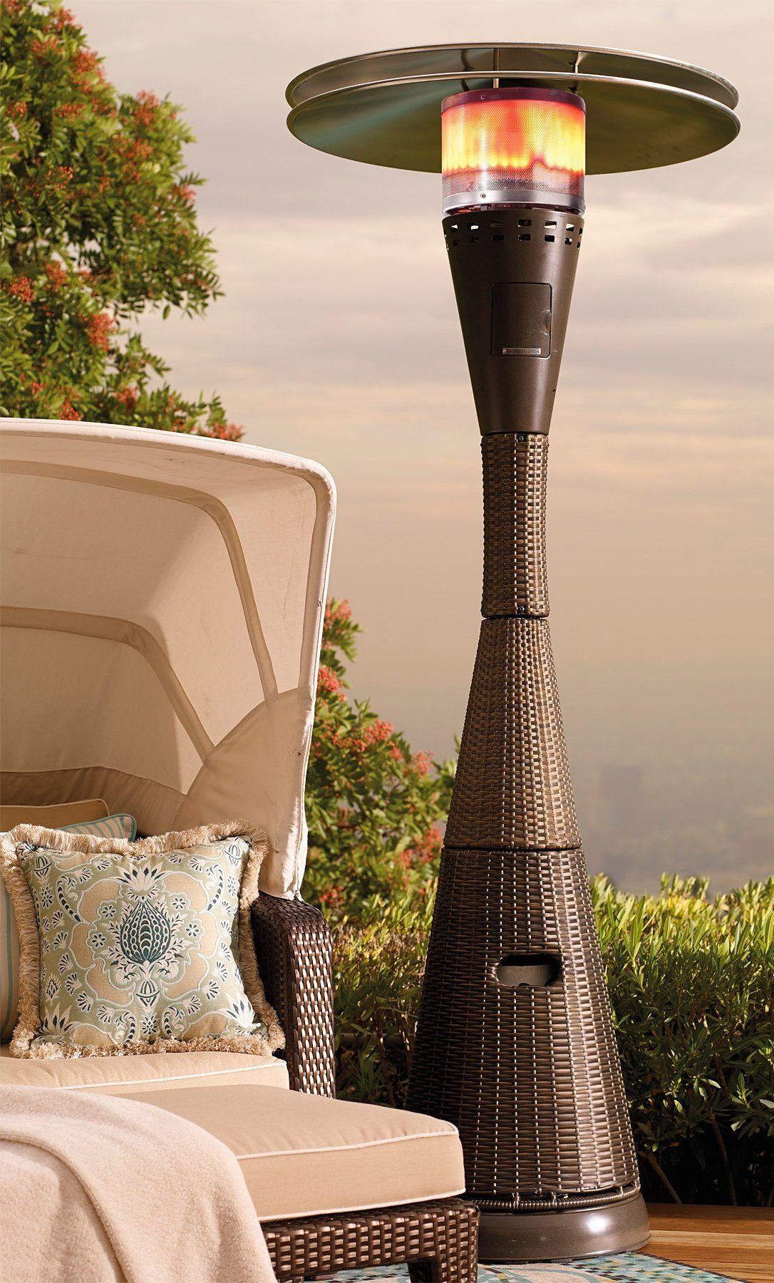 Our towering Allweather Woven Heater blends in seamlessly