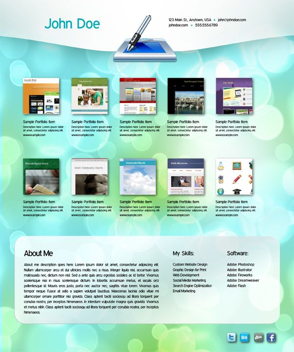 Interactive portfolio free indesign template pdf digital media pinterest indesign for Free indesign portfolio templates