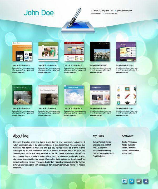 Interactive portfolio free indesign template pdf digital media pinterest indesign for Indesign portfolio template free