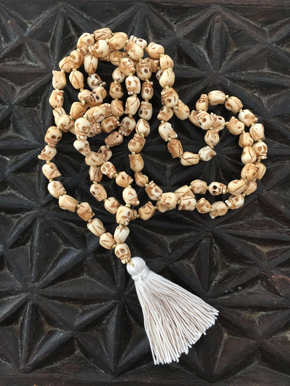 Carved Bone Skull Bead Mala Necklace Beaded Skull Mala Beads Mala Necklace