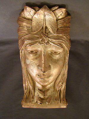 Vintage ART NOUVEAU Green LADY Figural ARCHITECTURAL CORBEL Style GARDEN  Statue