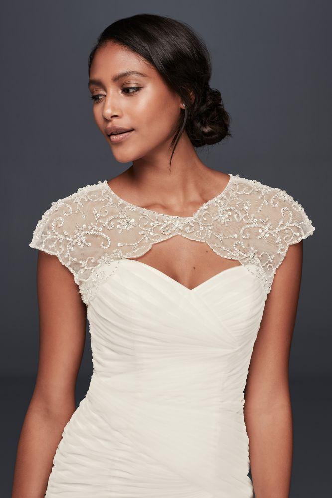 ea0673c84a Davids Bridal Long Sleeve Tulle Wedding Dress Topper Style Ow2100
