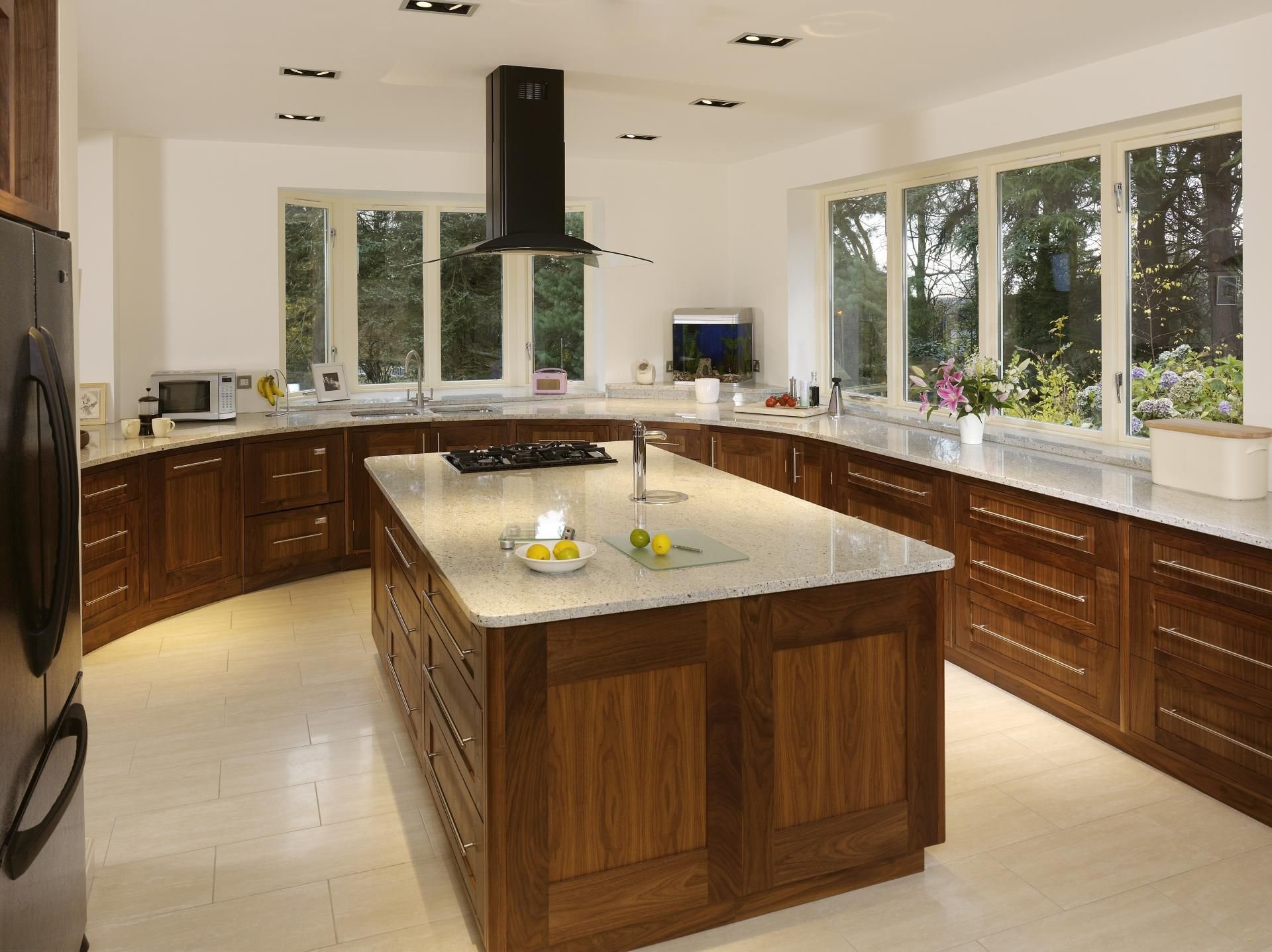 walnut kitchen with kashmere white granite worktops, solid walnut