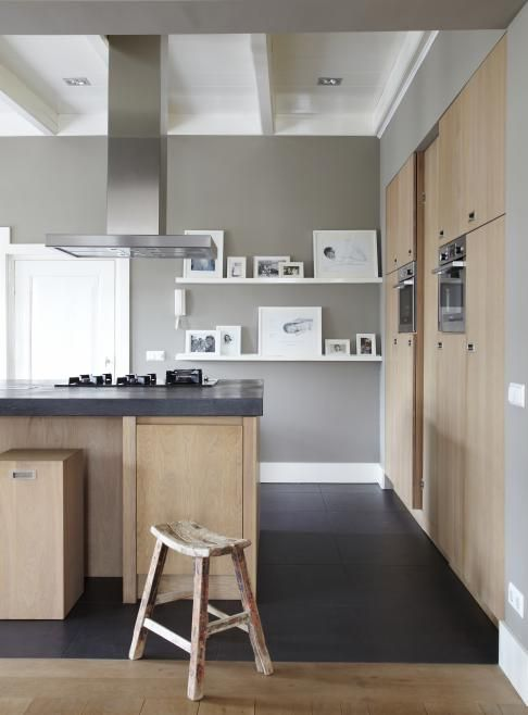Cuisine bois Gris et blanc cuisine Pinterest Maison, Cuisine - Plinthes Bois A Peindre