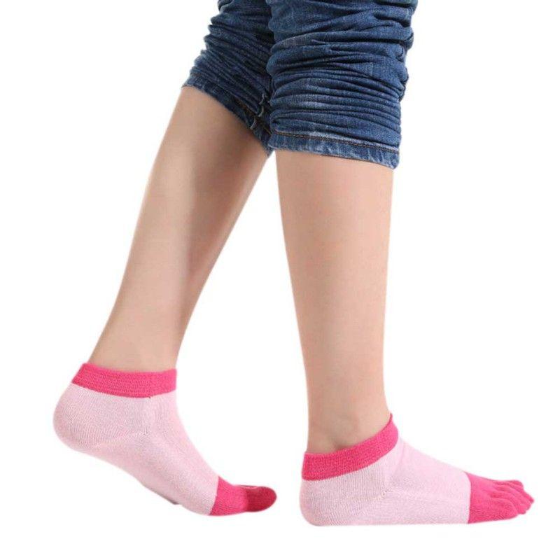Women Cotton Yoga Backless Five Toe Socks Breathable Anti