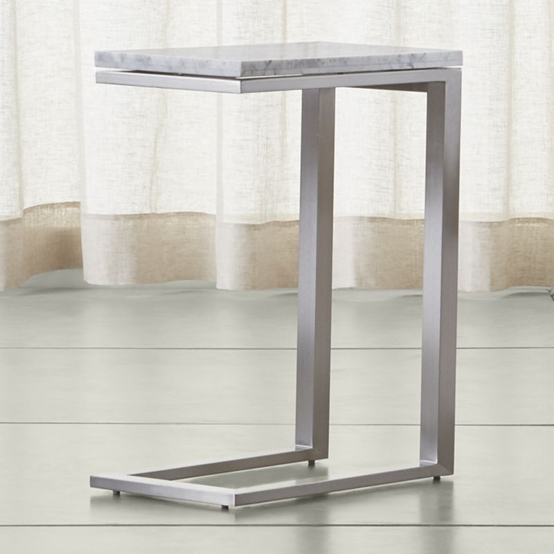 Parsons White Marble Top Stainless Steel Base 20x12 C Table To Complement Its Clean Simple Lines The Style Frame Gets A