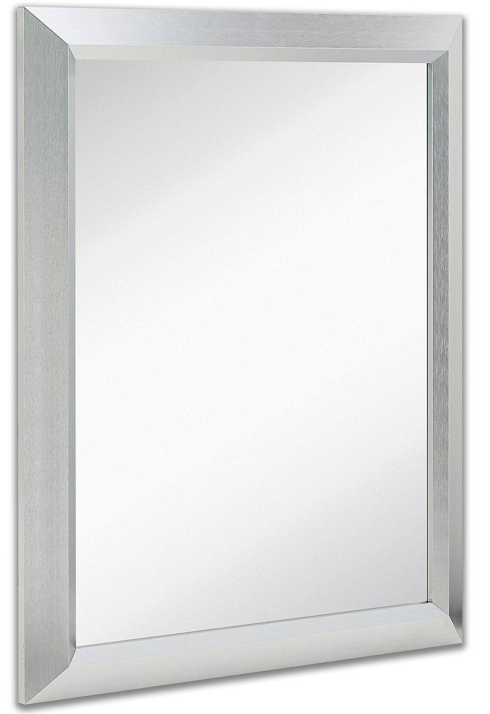 Premium Rectangular Brushed Nickel Wall Mirror Contemporary Metal