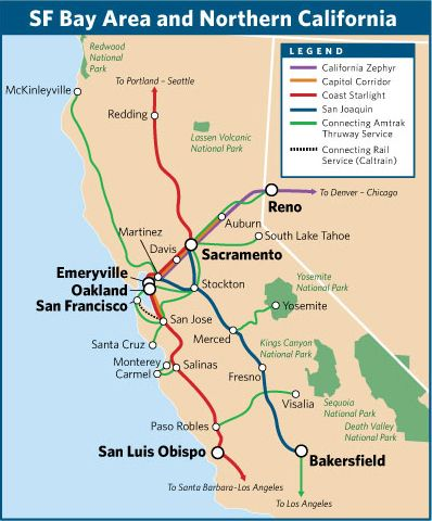 Four Amtrak Train Routes In The San Francisco Bay Area And - Amtrak map of routes in us