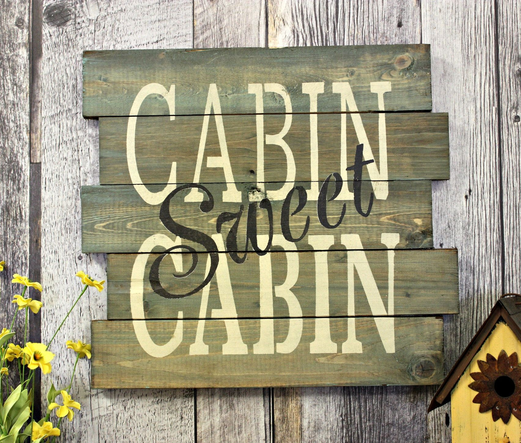 Cabin Sweet Rustic Decor Country Wood Sign Wall Gift Made In Canada Distressed The Great Outdoors