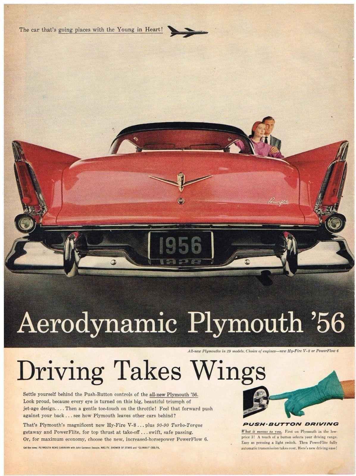 Original 1956 PLYMOUTH \'56 CAR AD AUTOMOBILIA Vintage Print ...
