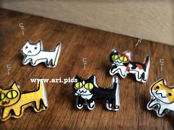 ニャンダホー! #handmade #cat #pin #プラバン #ネコ #ブローチ #ari