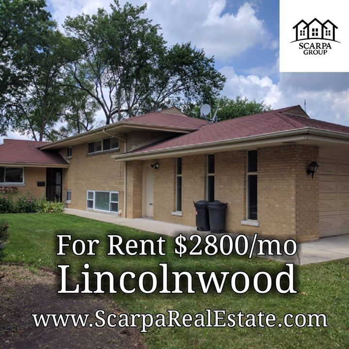 LINCOLNWOOD: 3br/2.1ba house $2800/mo avail Aug1. Call today! 312-685-2354