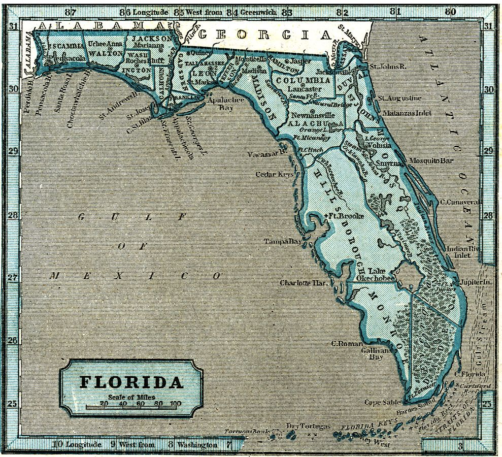 03031845 Florida becomes the 27th US state Vintage map