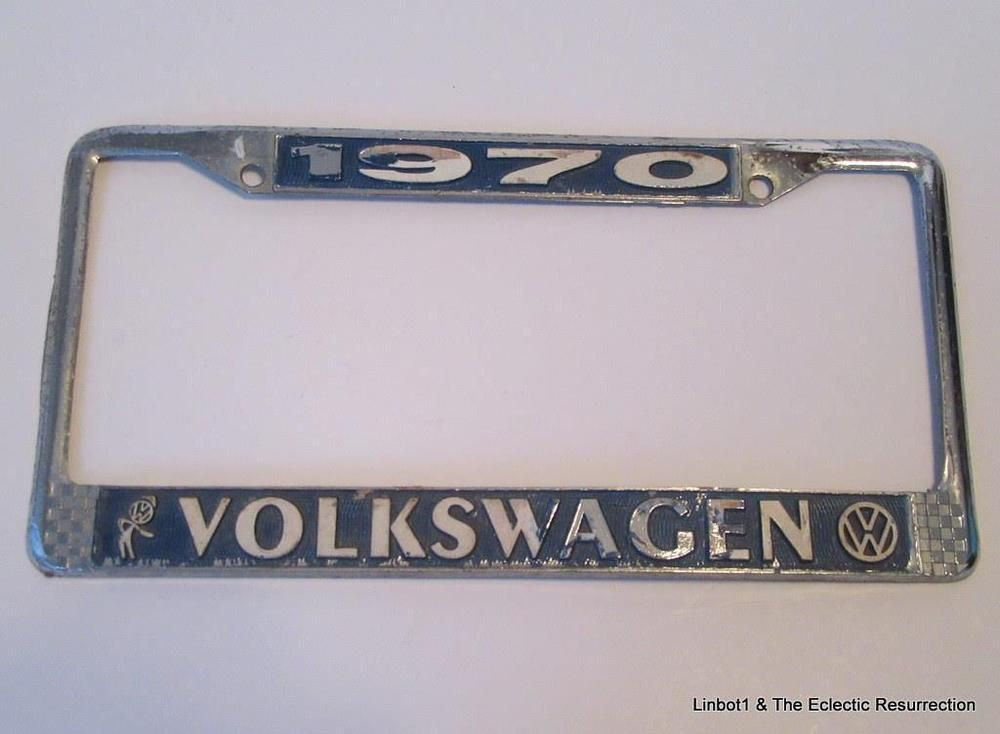 1970 Volkswagen Bubblehead Chrome Dealer License Plate Frame for VW Bug Bus Ghia
