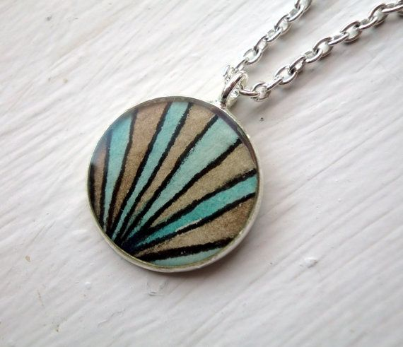 Pendant Necklace  Brown and Teal Hand Painted by jojolarue on Etsy