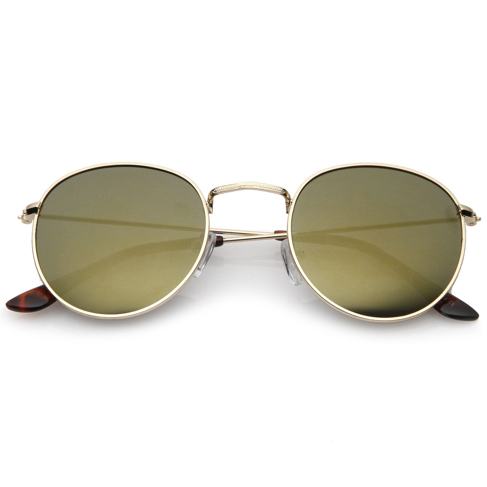 Retro Metal Frame Thin Temples Colored Mirror Lens Round Sunglasses