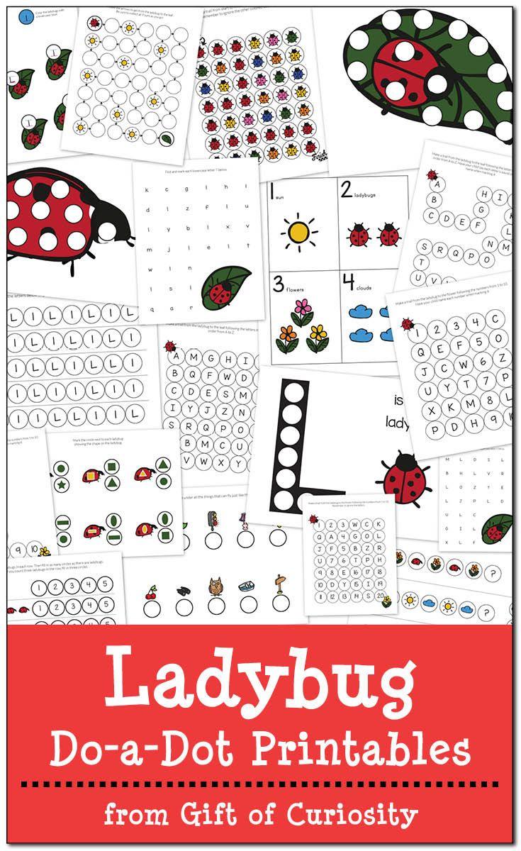 Free Ladybug Do-a-Dot Printables | Bug Theme | Do a dot, Printables