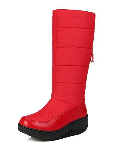 Women's Warm Fringed Round Toe Thick Sole Platform Low Heels Wedge Dress Slip On Mid Calf Snow Boots Shoes
