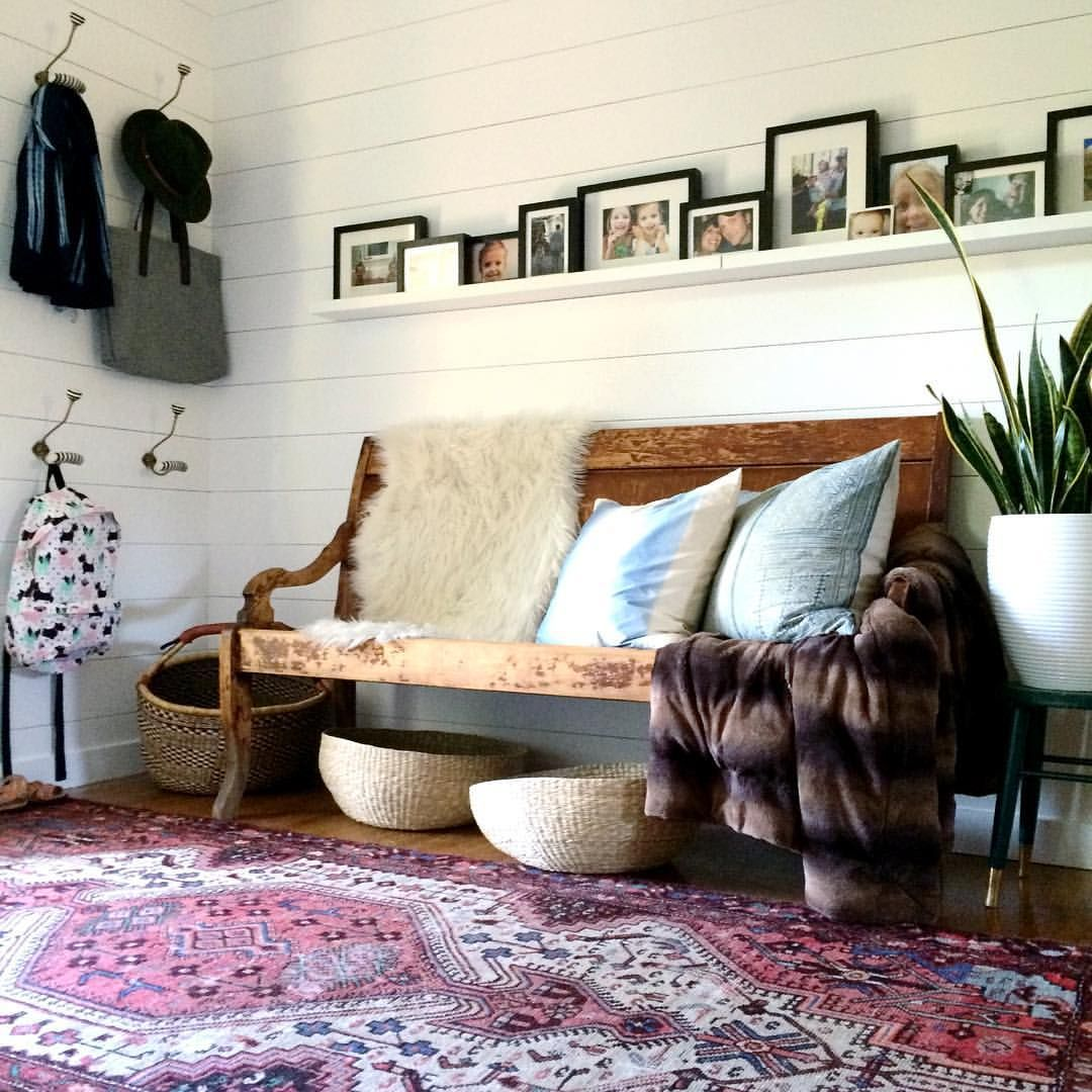 shiplap walls in the foyer antique bench hooks ikea picture rail