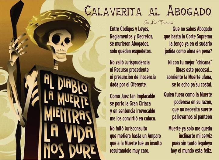 Calavera Literaria Al Abogado Calaveras Literarias Dia De