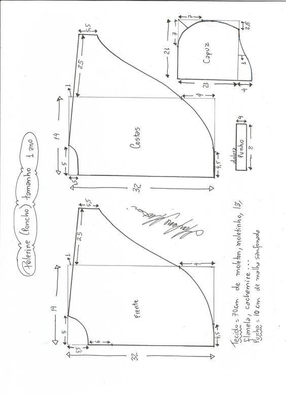Patrón de poncho para niños   diseño infantil   Pinterest   Sewing ...