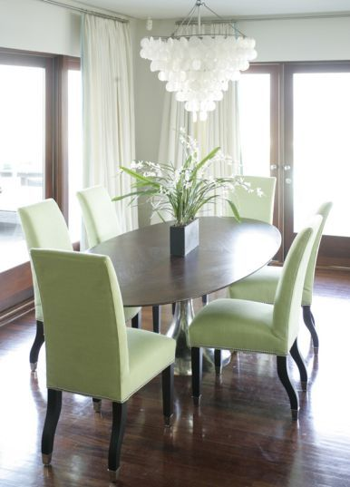 Gray Walls White Chandy Walnut Table And Floors And Green Chairs