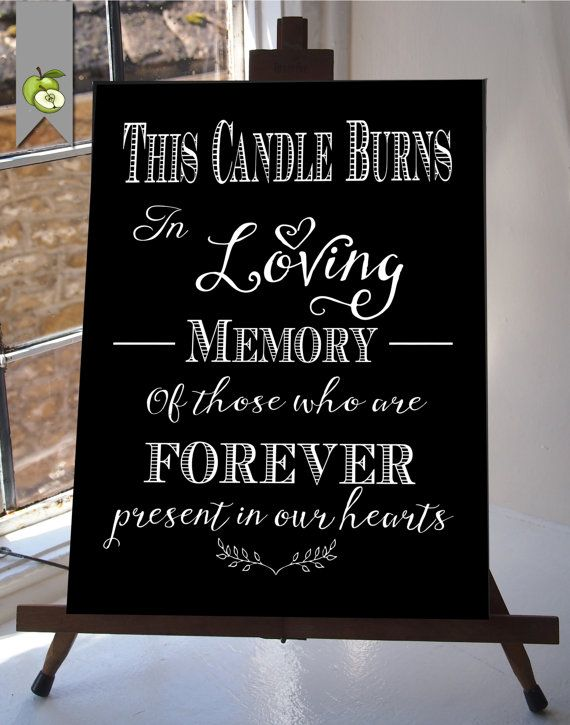 This candle burns in loving memory wedding sign by theartyapples wedding pinterest for In loving memory wedding sign