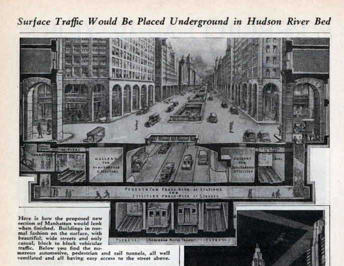 A 1934 Engineer S Plan Fills In The Hudson River For Traffic And Housing Hudson River Manhattan Nyc
