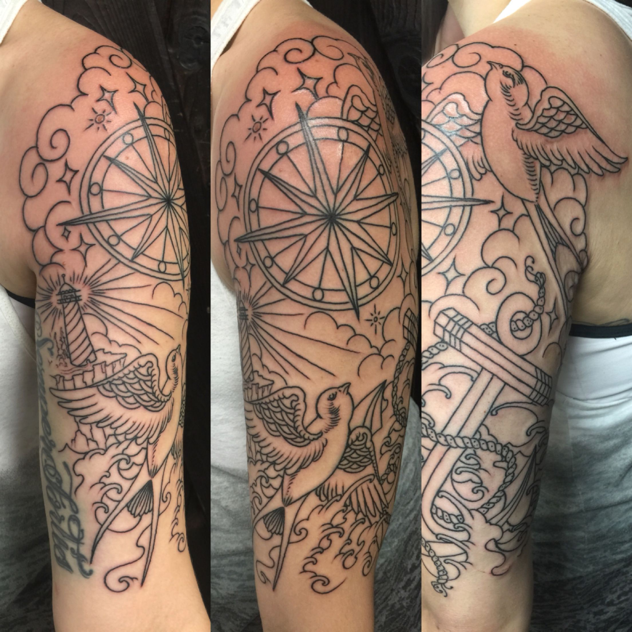 Nautical Half Sleeve Tattoo Ideas