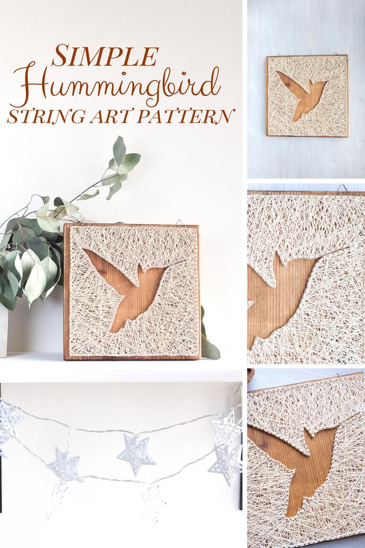 Modern hummingbird string art pattern digital download uu x