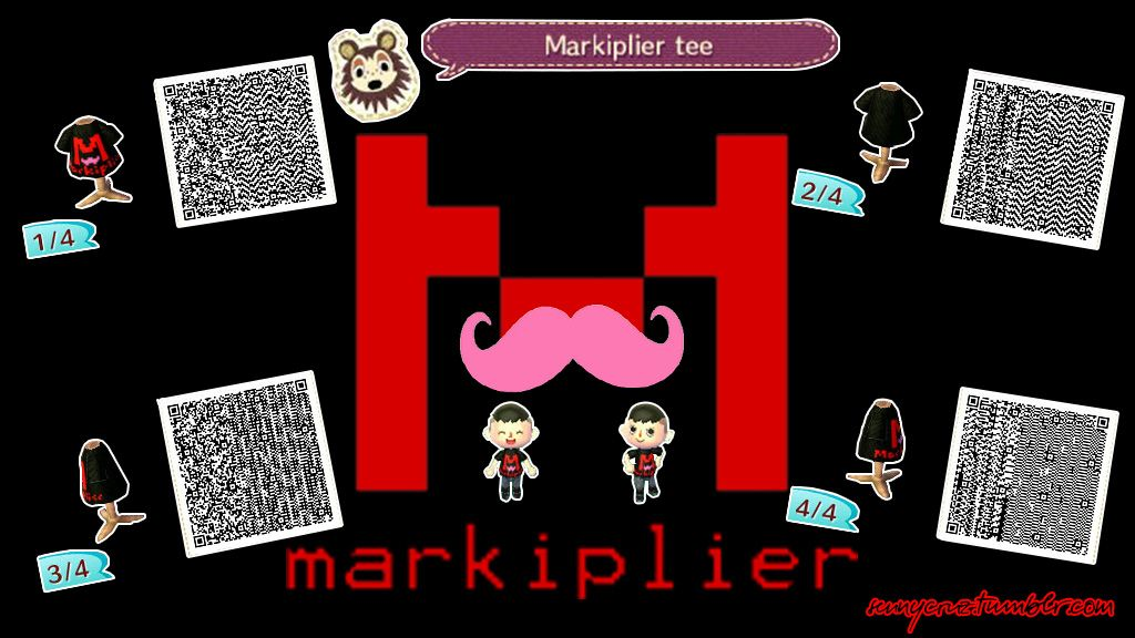 I made this Markiplier t shirt in Animal Crossing a while back and decided to post the qr codes so others could enjoy it. ^-^