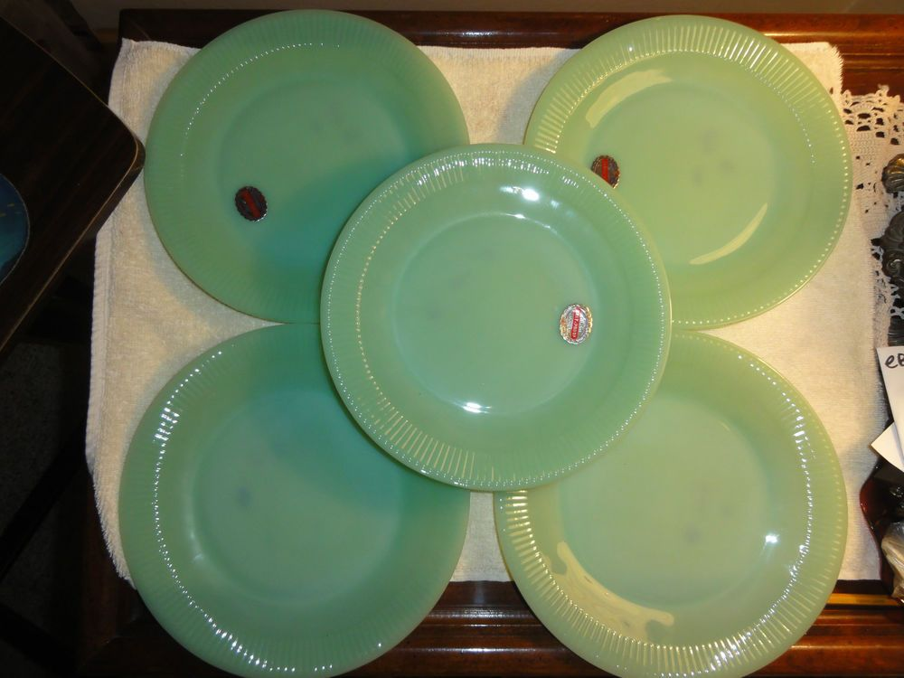 JADE-ITE FIRE KING JADEITE JANE RAY 9 INCH DINNER PLATE SET OF 5 WITH : 9 inch dinner plate - pezcame.com