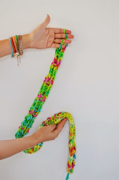 Finger Knitting With Tie Dye Shirt Yarn