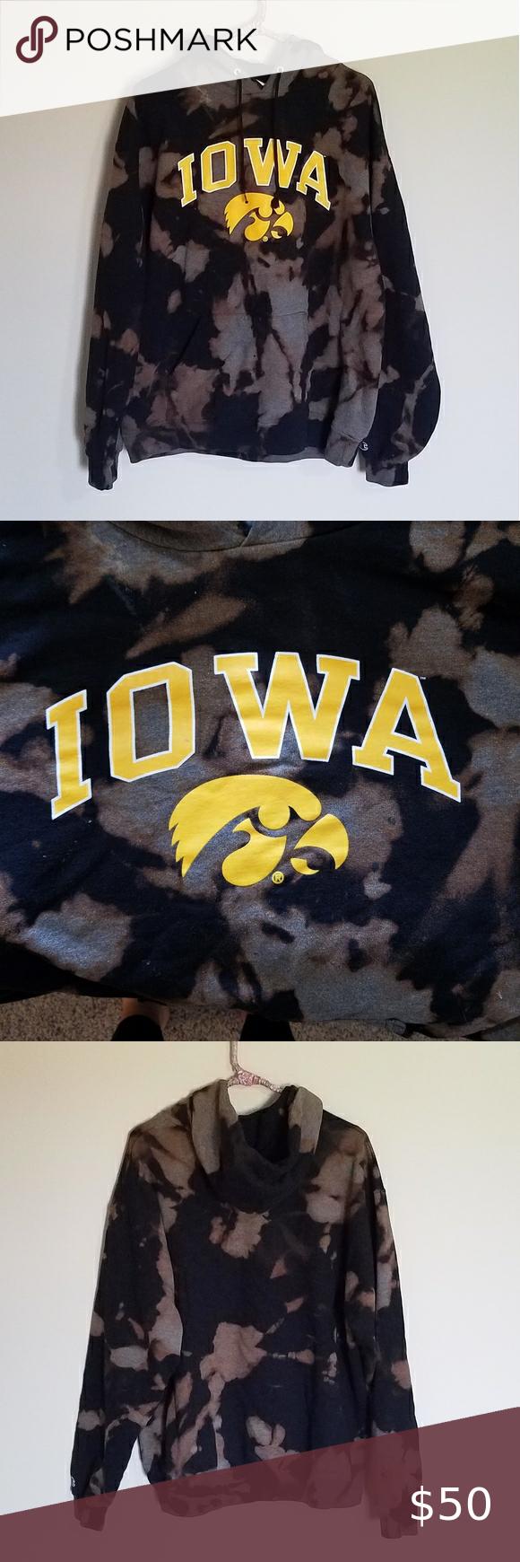 Iowa Hawkeye Bleach Dye Hoodie Size Xl Grey Champion Sweatshirt White Champion Hoodie Blue Champion Hoodie [ 1740 x 580 Pixel ]