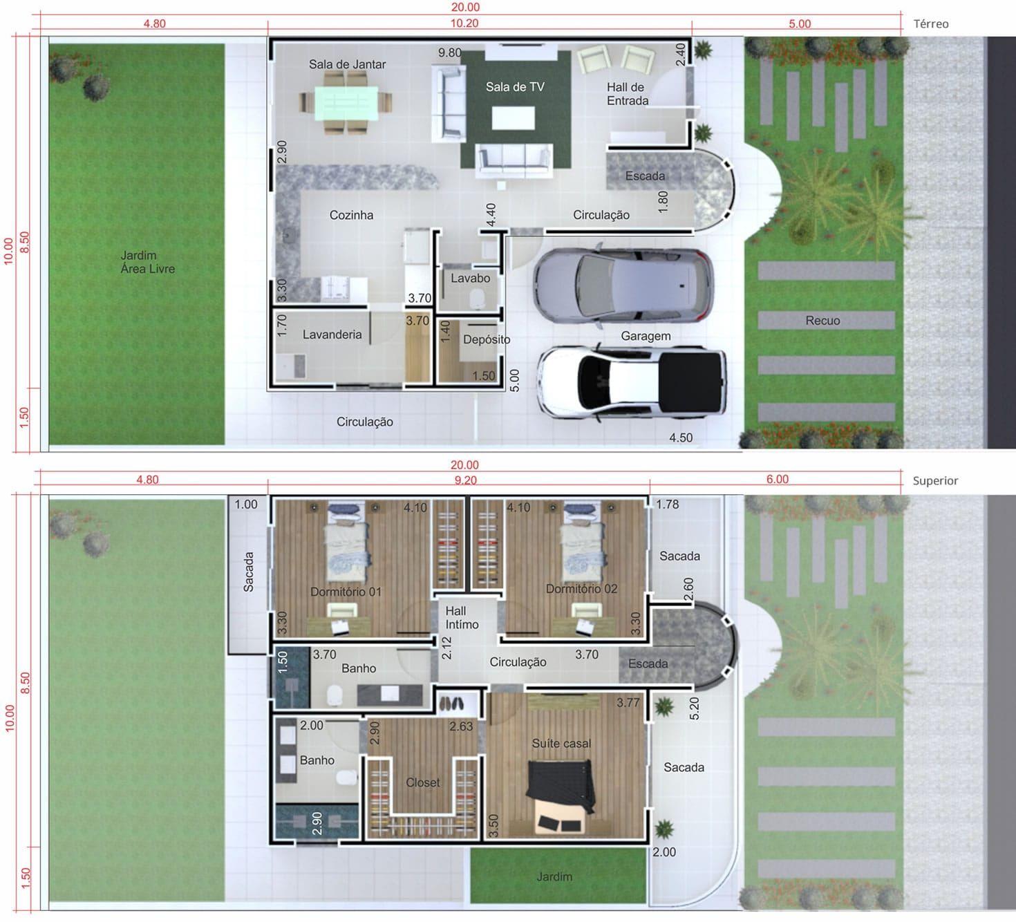 Planta de casa peque a y moderna plano para terreno 10x20 for Casa moderna 7x20