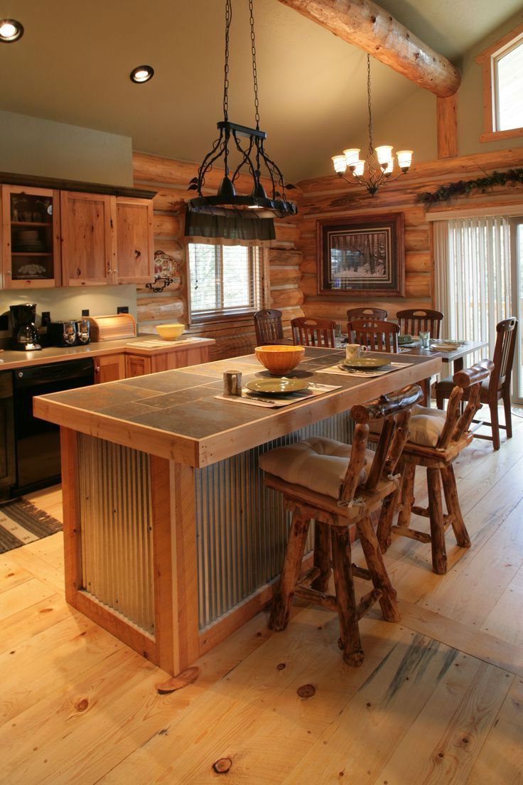 Log Cabin Kitchen Islands Log Home Kitchens Rustic Kitchen