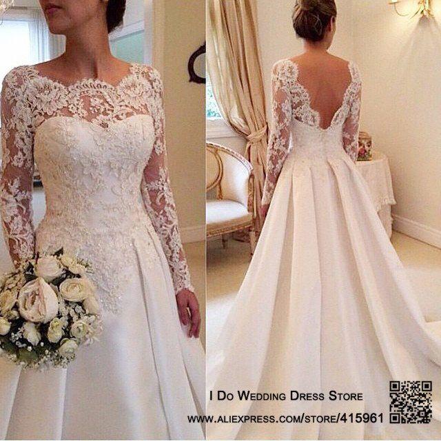 2016 Elegant Vestido De Renda Lace Long Sleeve Wedding ...