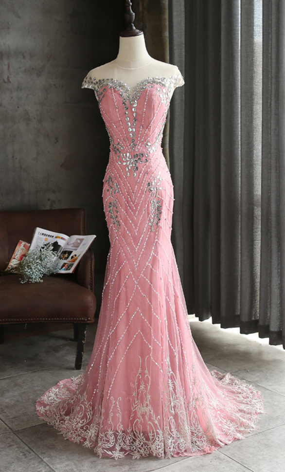 2b9ff080782b3 Luxury Strass Mermaid Dubai Long Party Rose Crystal Pearls Formal ...