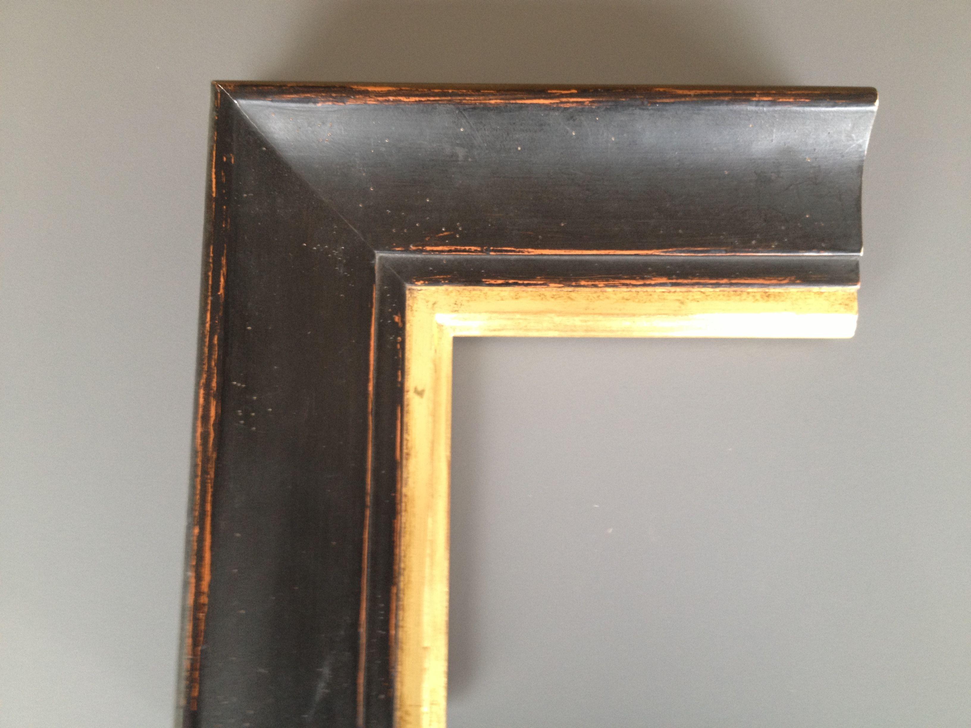 Marco artesanal.marcos para cuadros.Marco pan de oro y negro rozado ...