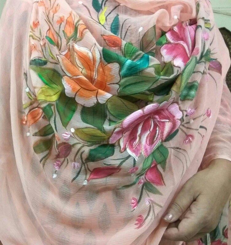 Dupatta Free Hand Painting By Meenu Sachdeva 9417143800