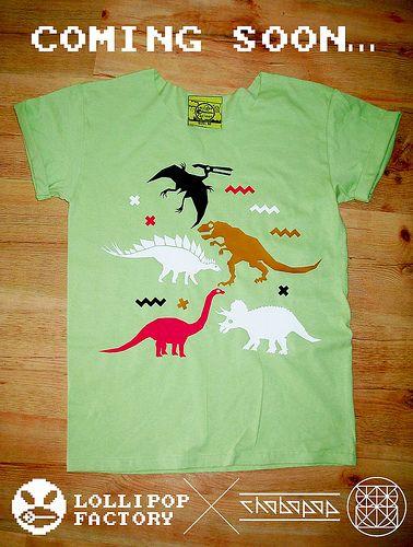 Dinosaurs Lollipop Factory X Chobopop Mens Tops T Shirt Women