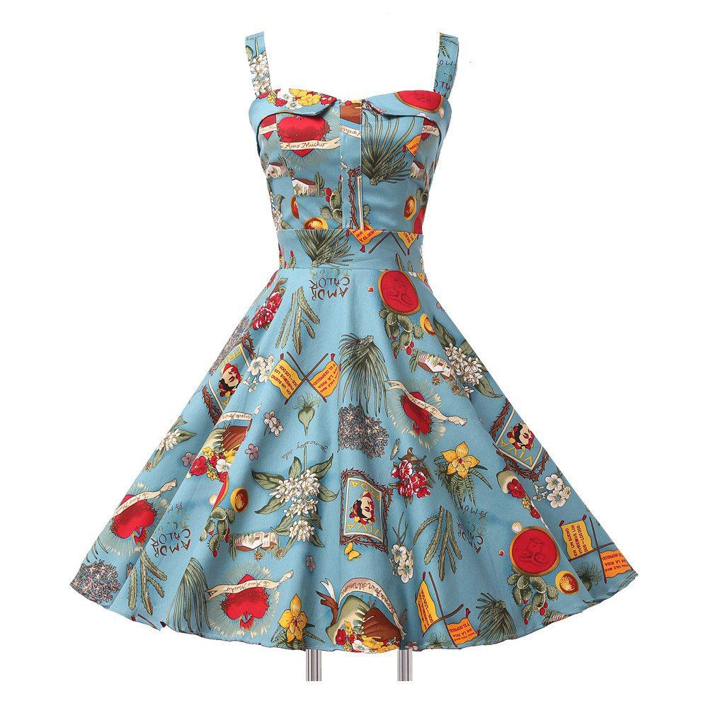 Ladies Cotton robe Rockabilly Womens Summer style Dresses pin up ...